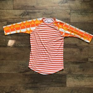 LuLaRoe Candy Corn Halloween Striped Randy Top XS